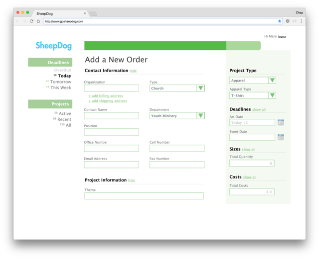 New order creation page in SheepDog